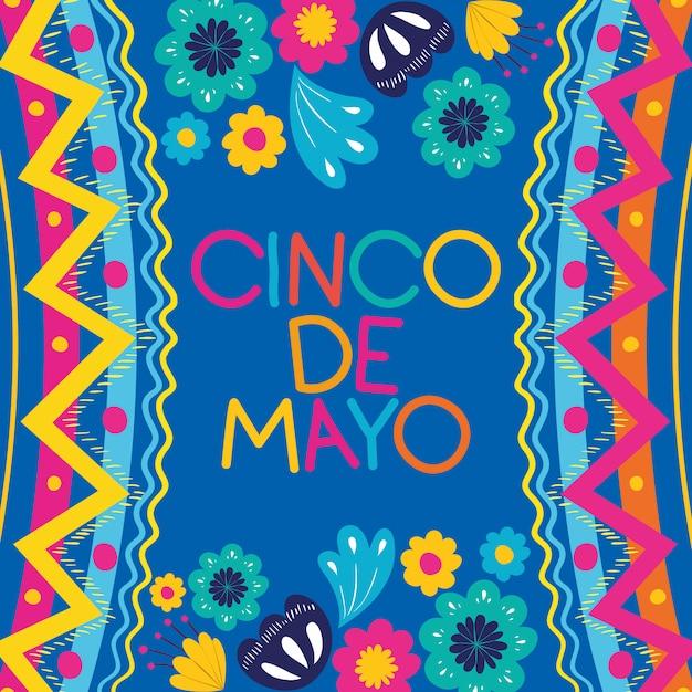 Cinco de mayokaart met bloemen en textuurkader Premium Vector