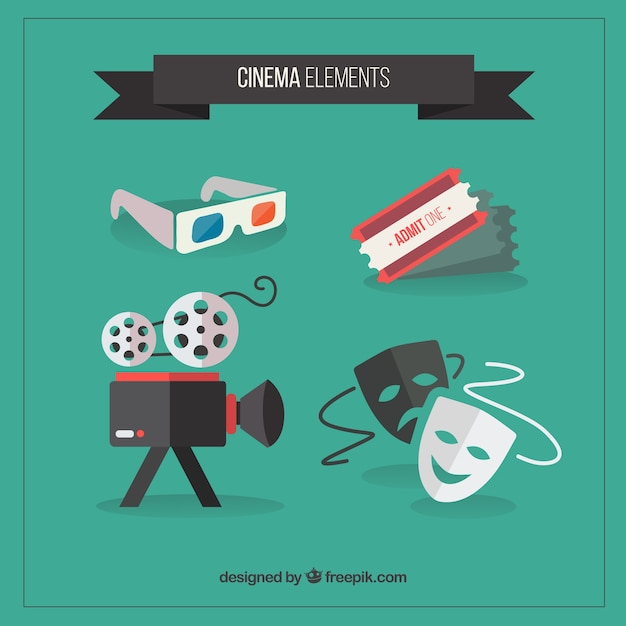 Cinema accessoire collectie in plat design Gratis Vector