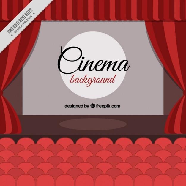 Cinema achtergrond met rode stoelen en gordijnen Vector | Gratis ...