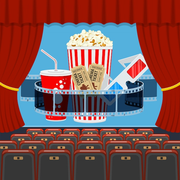 Cinema auditorium met stoelen en popcorn Premium Vector