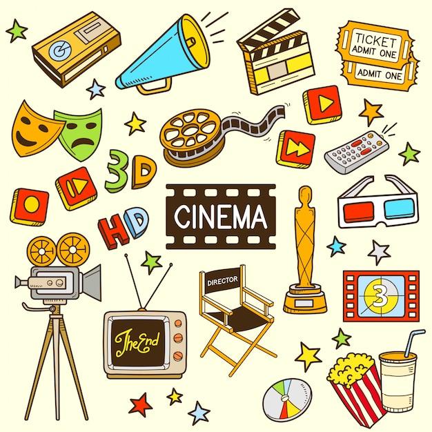 Cinema cartoon kleur doodle illustratie Premium Vector
