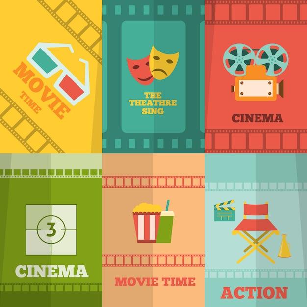Cinema elementen samenstelling poster afdrukken Premium Vector