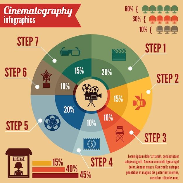 Cinema entertainment zakelijke infographic sjabloon Gratis Vector