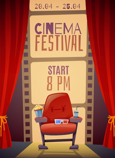 Cinema festival verticale poster Gratis Vector