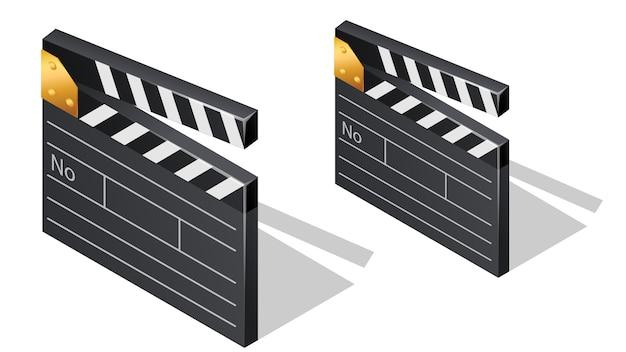 Cinema film clapperboards isometrische pictogrammen Gratis Vector