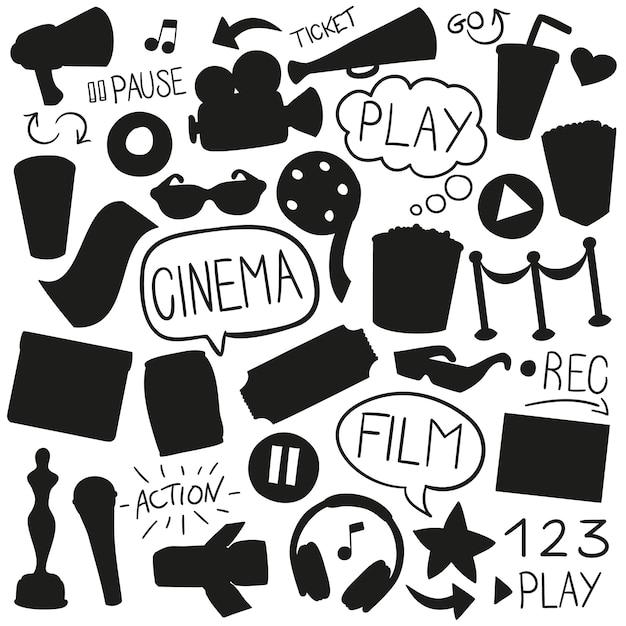 Cinema film silhouet vorm illustraties ontwerpen Premium Vector