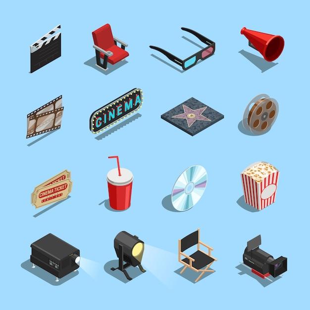 Cinema-filmaccessoires collectie van isometrische pictogrammen Gratis Vector