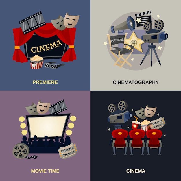 Cinema flat set Gratis Vector