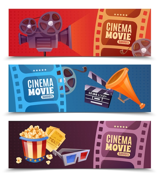 Cinema horizontale banner set Gratis Vector