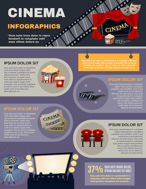 Cinema infographics set Gratis Vector