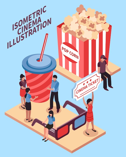 Cinema isometrische ontwerpconcept Gratis Vector