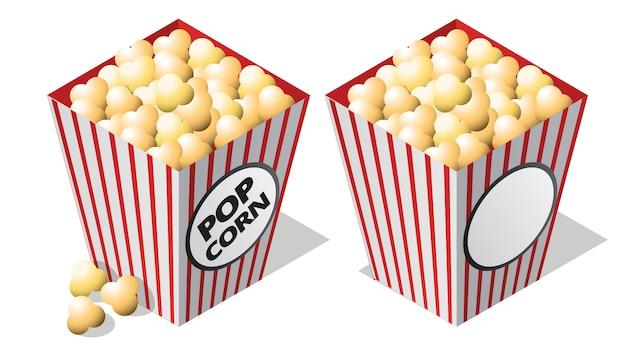 Cinema isometrische pictogram, gestreepte popcorn emmer Gratis Vector
