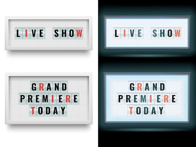 Cinema lightbox teken. verlichte billboardpanelen met lichtbak of lcd-scherm. geïsoleerde set Premium Vector