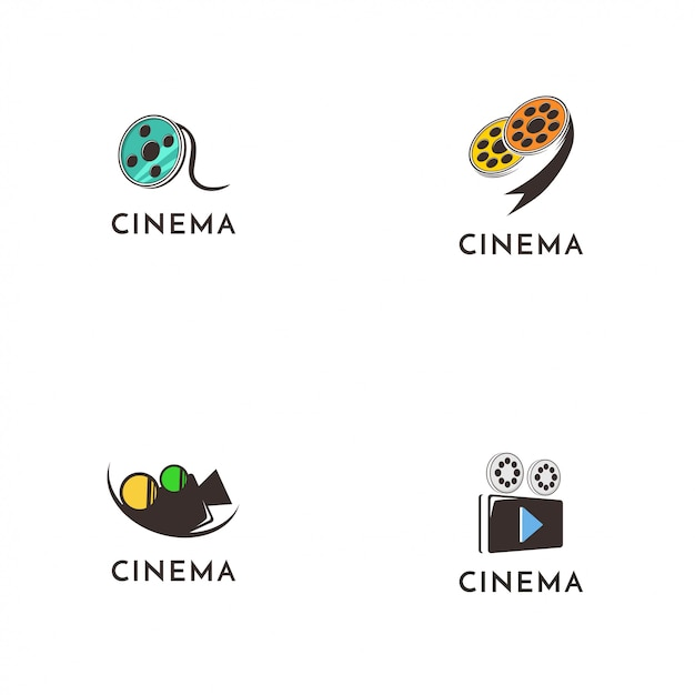 Cinema logo collectie Premium Vector