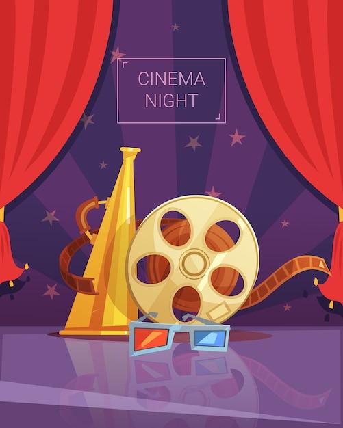Cinema nacht cartoon achtergrond Gratis Vector