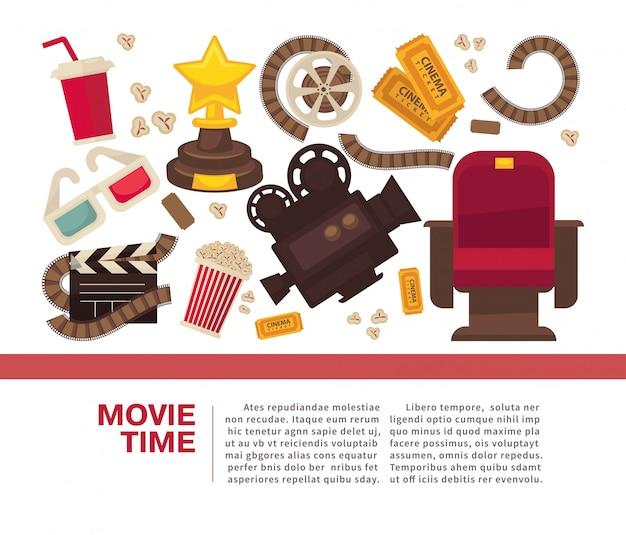 Cinema reclameaffiche met symbolische cinematografische uitrusting Premium Vector
