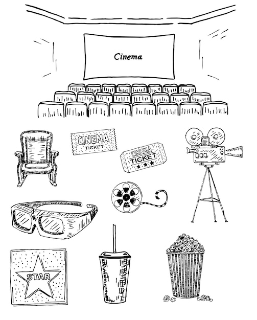 Cinema set hand getrokken Premium Vector