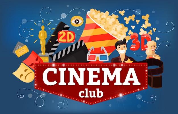 Cinema theatre club achtergrond Gratis Vector