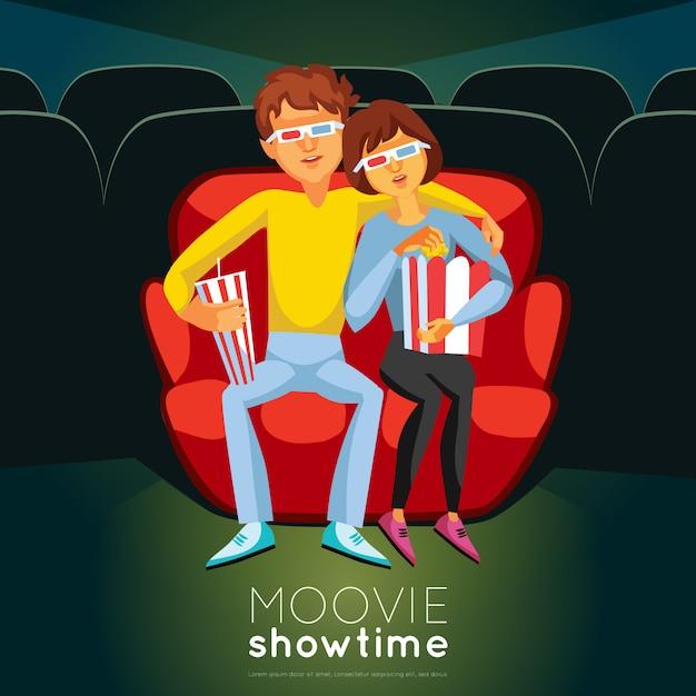 Cinema tijd illustratie Gratis Vector