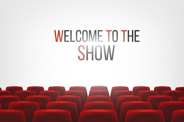 Cinemahal met wit leeg scherm en stoelen Premium Vector