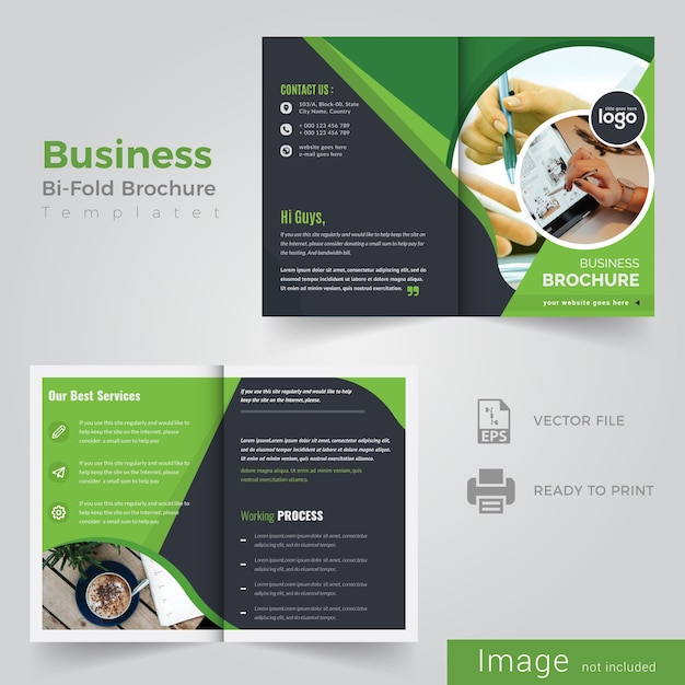 Circle bi fold brochure design Premium Vector