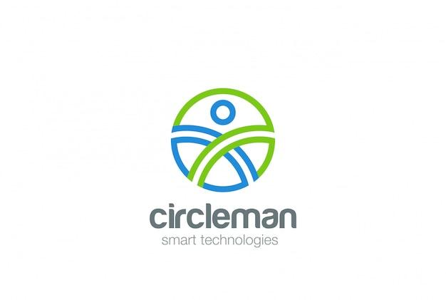 Circle man abstract logo ontwerpsjabloon. digitale mensen generatie speltechnologie web logotype concept pictogram Gratis Vector