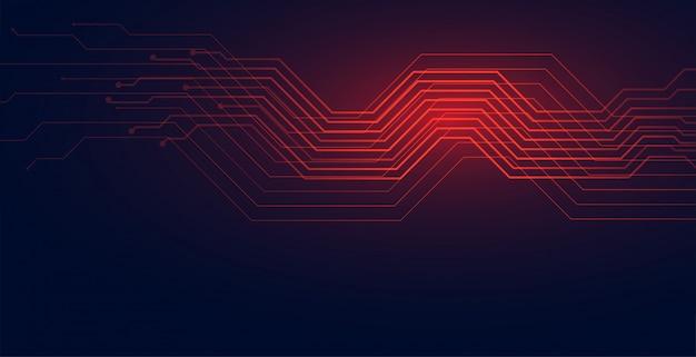 Circuit lijnen technologie diagram achtergrond in rode schaduw Gratis Vector