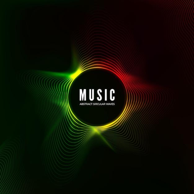 Circulaire geluidsgolfvisualisatie. abstracte muziek achtergrond. kleurstructuur audiostroom. illustratie Premium Vector
