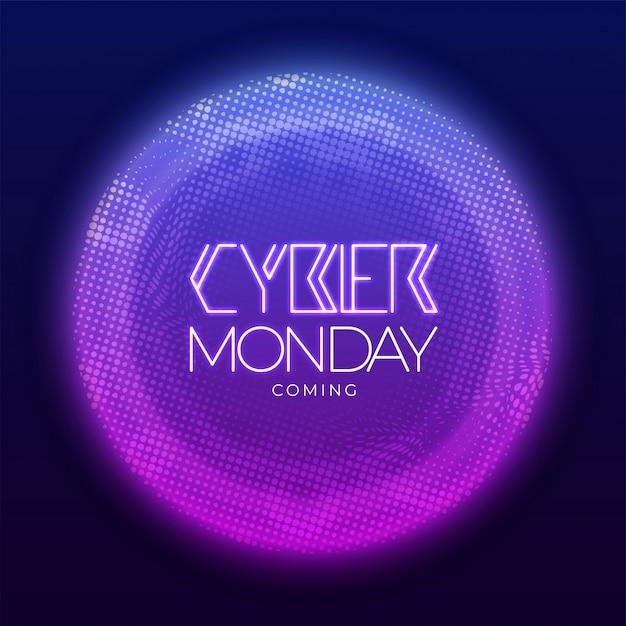 Circulaire halftone effect achtergrond met neon effect voor cyber monday. Premium Vector