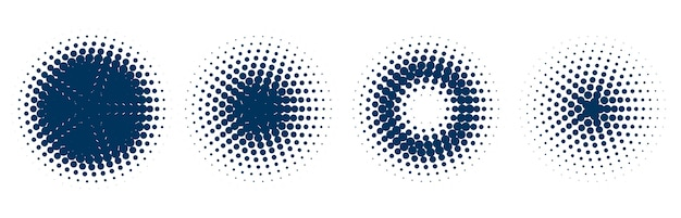 Circulaire halftoonpatroon set van vier Gratis Vector