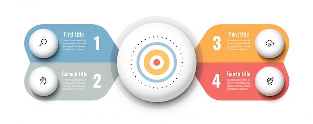 Circulaire infographic-ontwerpsjabloon met pictogrammen en 4 opties of stappen. bedrijfsconcept. Premium Vector