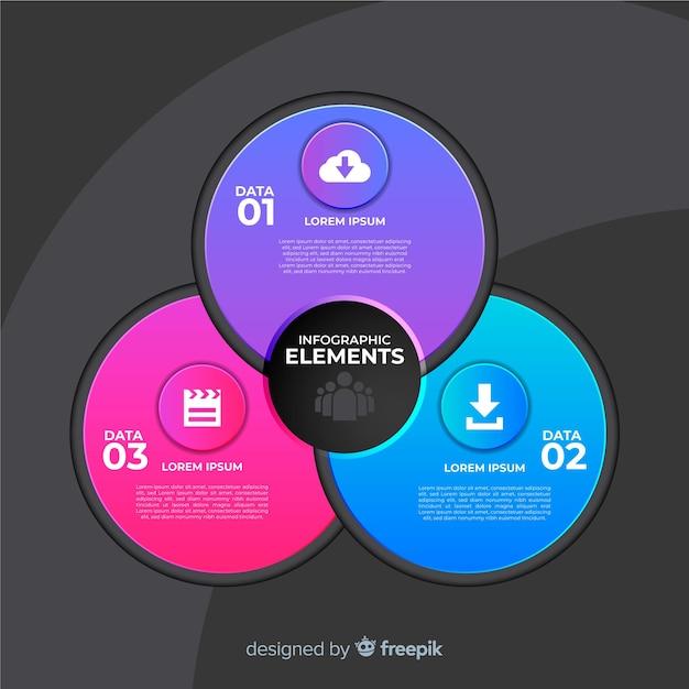 Circulaire infographic sjabloon in verloopstijl Gratis Vector