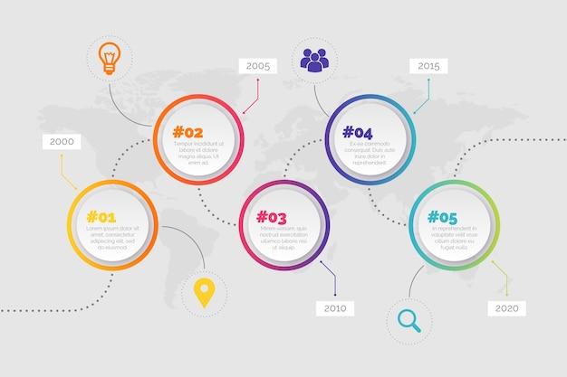 Circulaire knoppen tijdlijn infographic Gratis Vector