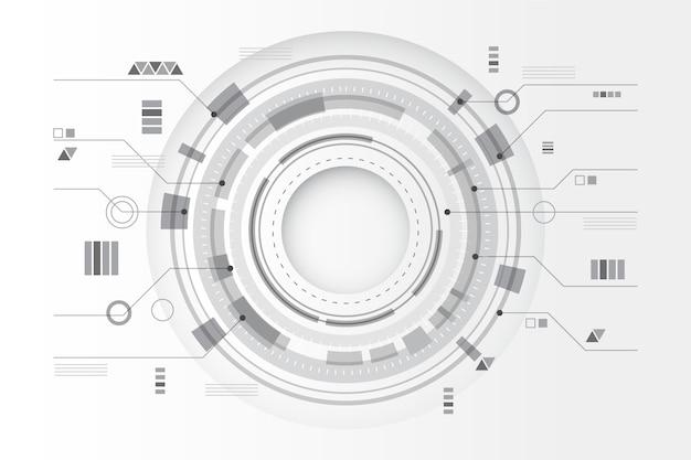 Circulaire technologie lijnen witte achtergrond Gratis Vector