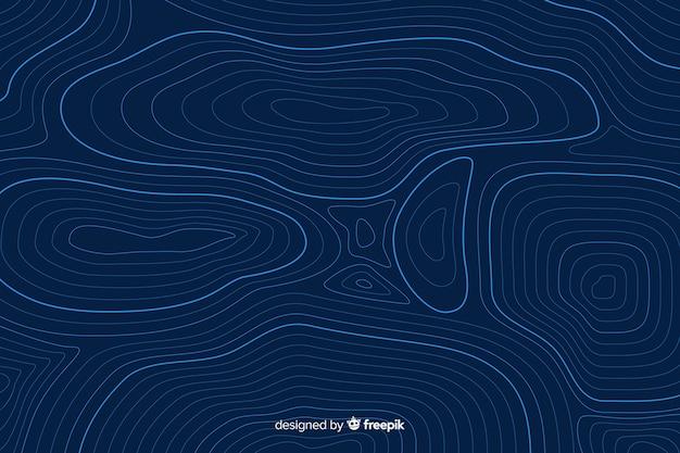 Circulaire topografische lijnen op blauwe achtergrond Gratis Vector