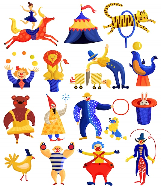 Circus artists-collectie Gratis Vector