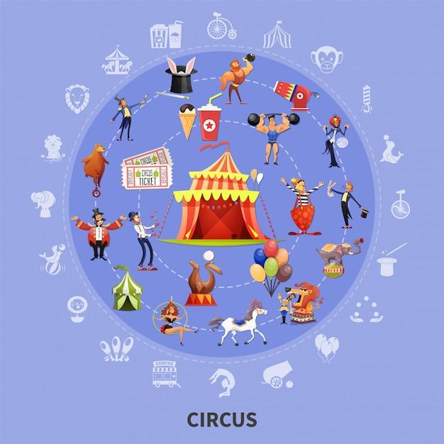 Circus cartoon ronde samenstelling Gratis Vector