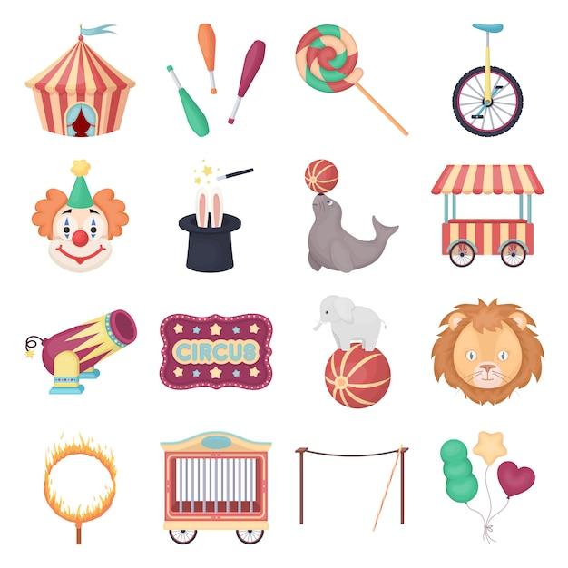 Circus cartoon vector icon set. vector illustratie circus. Premium Vector