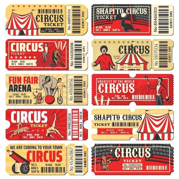 Circus, chapiteau, carnaval showticketsjablonen Premium Vector