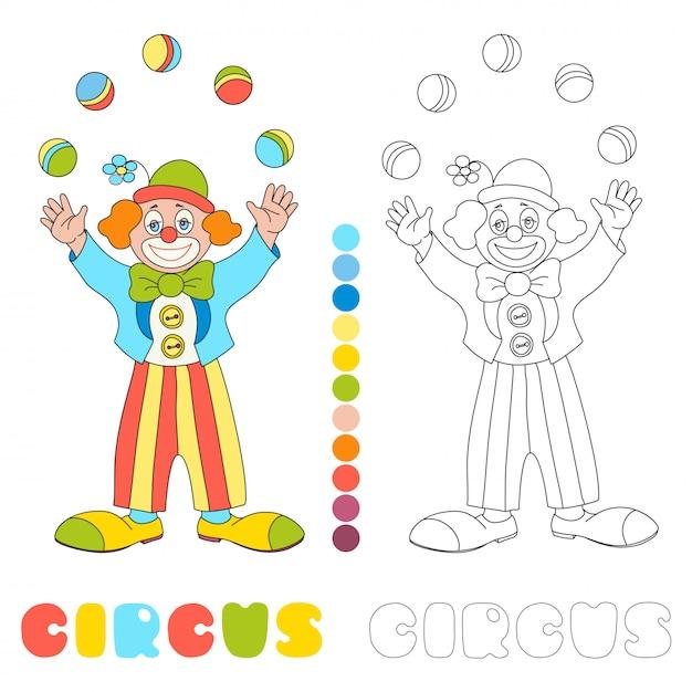 Circus clown jongleur kleurboekpagina Premium Vector