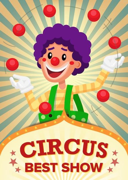 Circus clown poster template tonen. Premium Vector