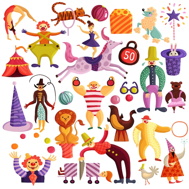 Circus decoratieve pictogrammen instellen Gratis Vector