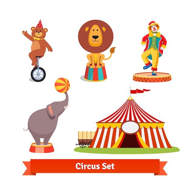 Circus dieren, beer, leeuw, olifant, clown Gratis Vector