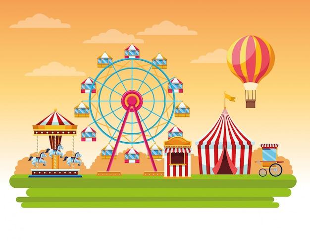 Circus eerlijke festivallandschap cartoon Gratis Vector
