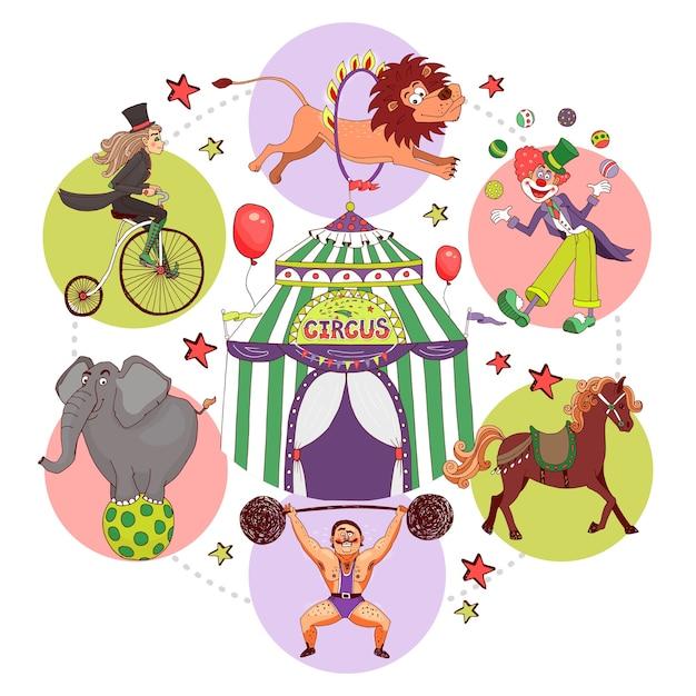 Circus elementen samenstelling in vlakke stijl Gratis Vector