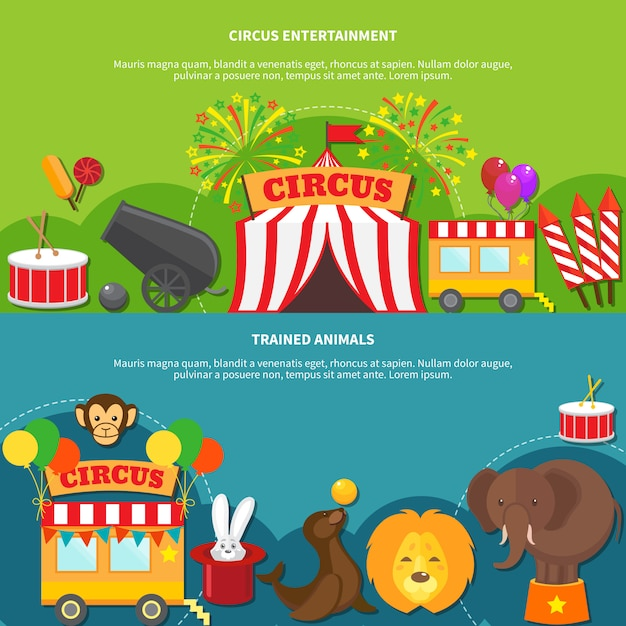 Circus entertainment horizontale banner Gratis Vector
