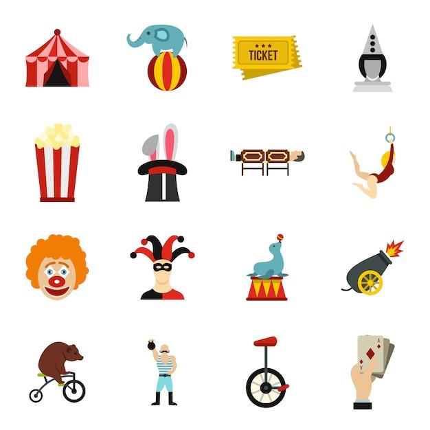 Circus entertainment pictogrammen instellen Premium Vector