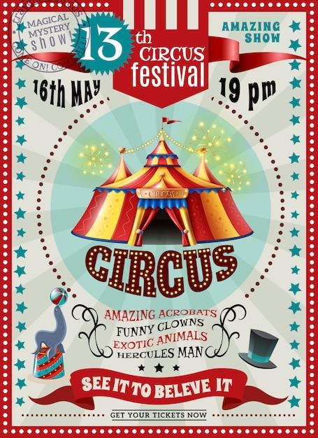 Circus festival aankondiging retro poster Gratis Vector
