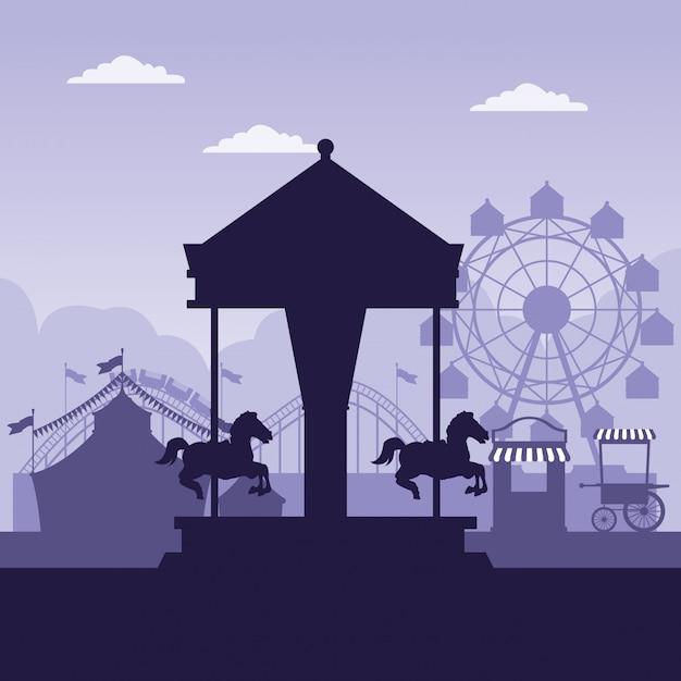Circus festival eerlijke landschap blauwe en witte kleuren Gratis Vector