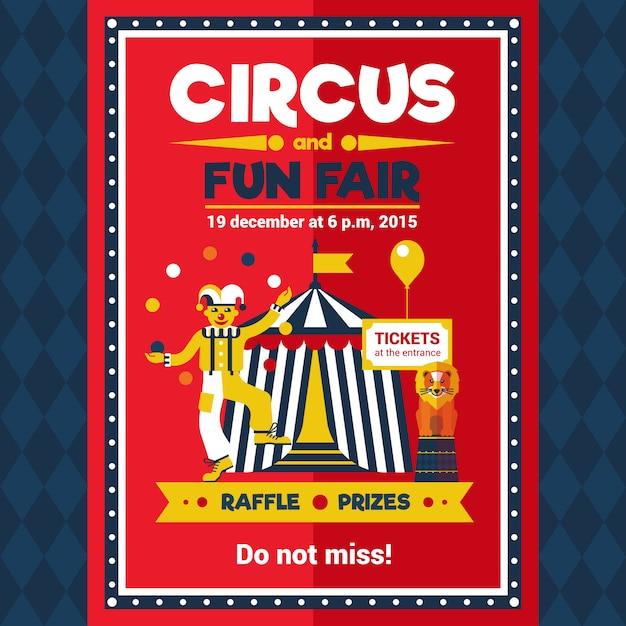 Circus fun fair carnival poster rood Gratis Vector